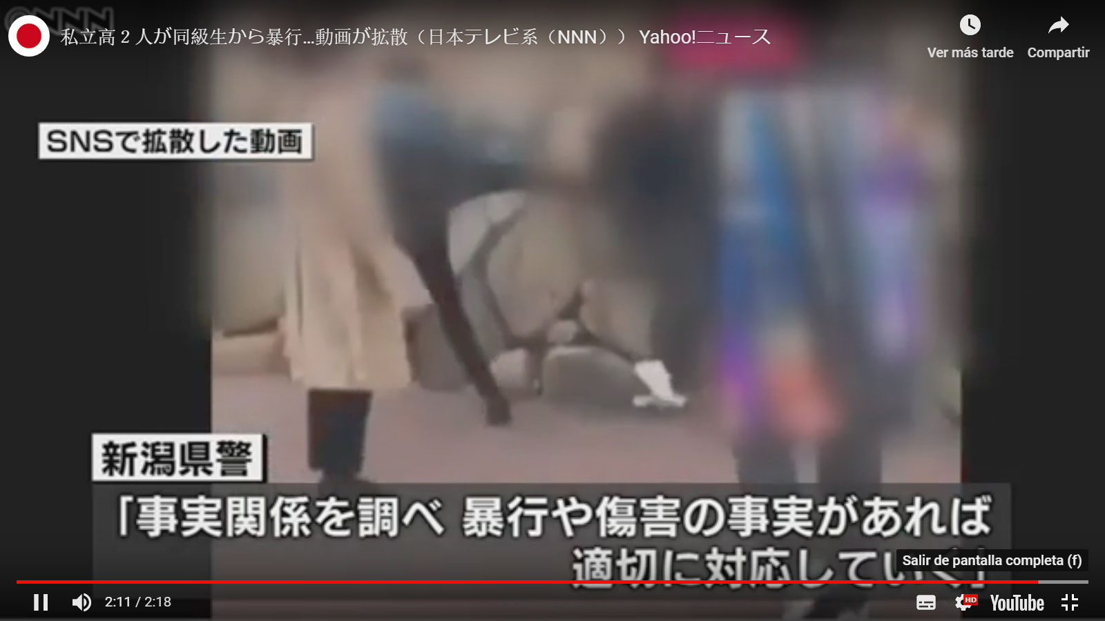 Video muestra caso de bullying en escuela de Niigata